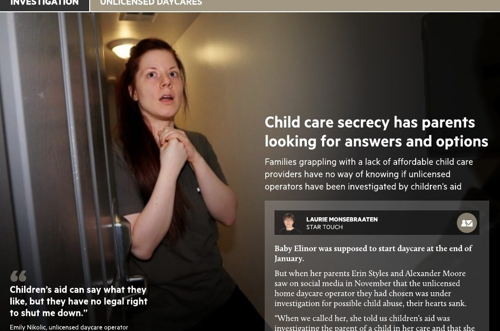 Toronto Star: Unlicensed Child Care