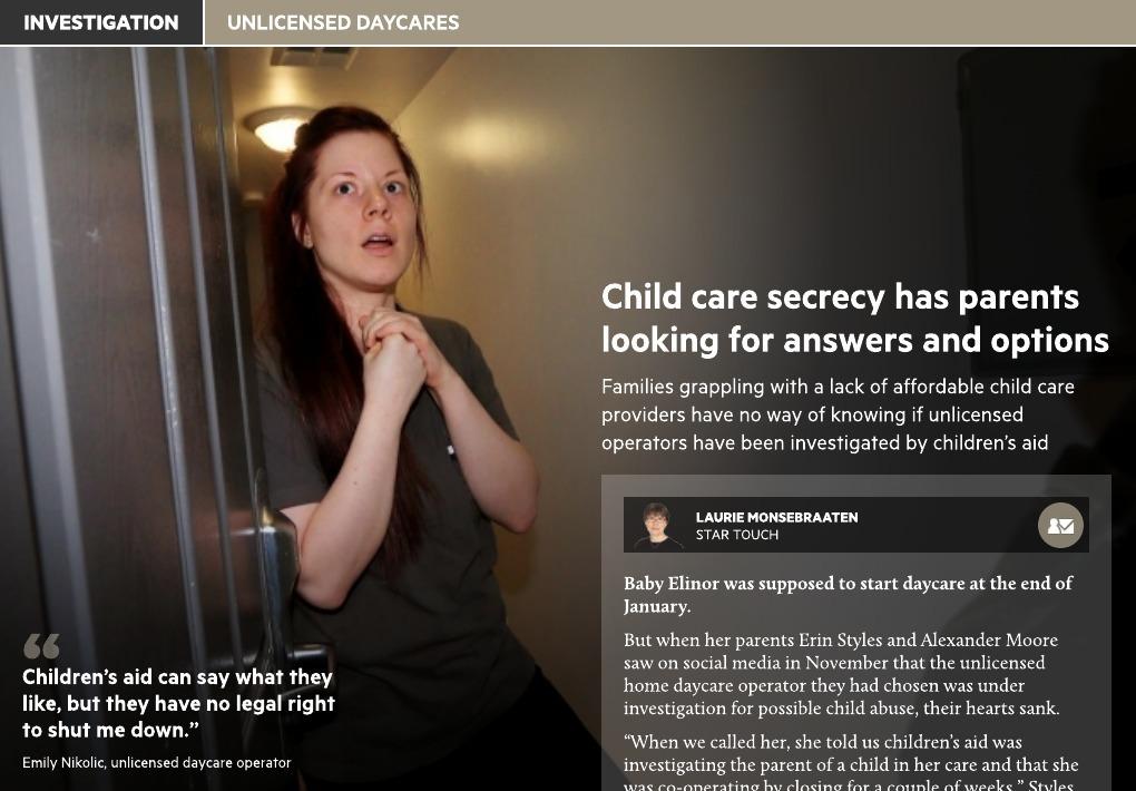 Toronto Star: Unlicensed Child Care