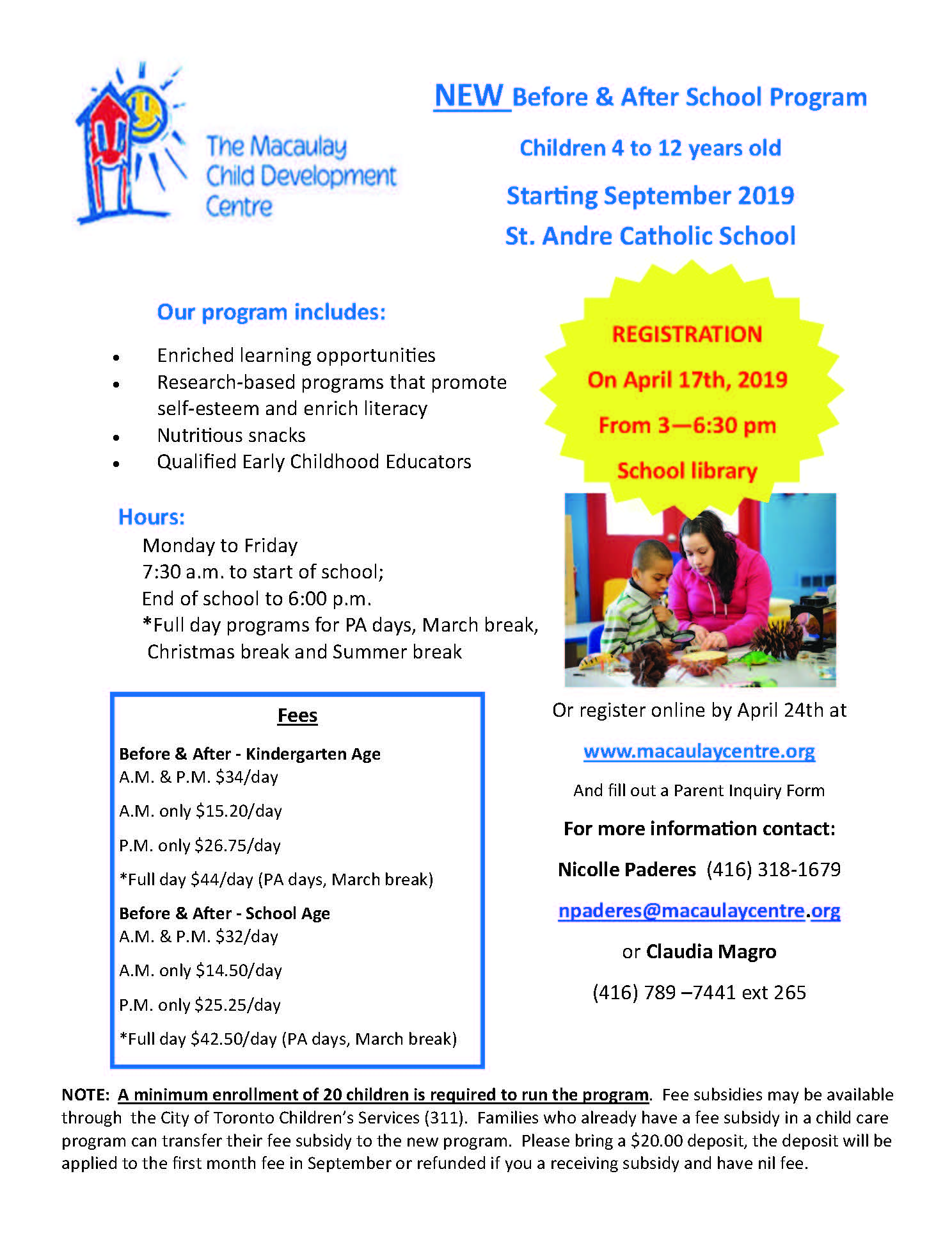 New Before and After Program Registration at St. Andre Catholic School