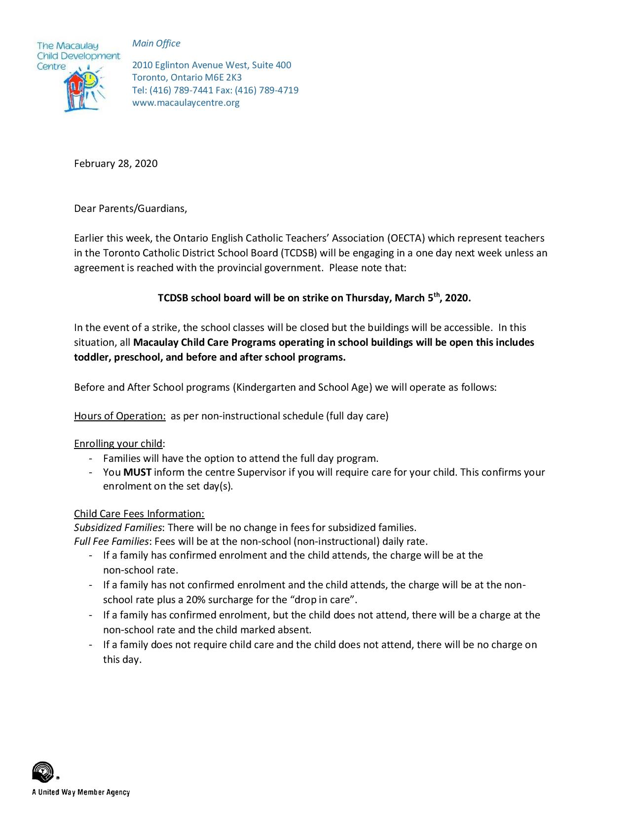 ETFO and OECTA Strike Action (UPDATE* March 5, 2020)