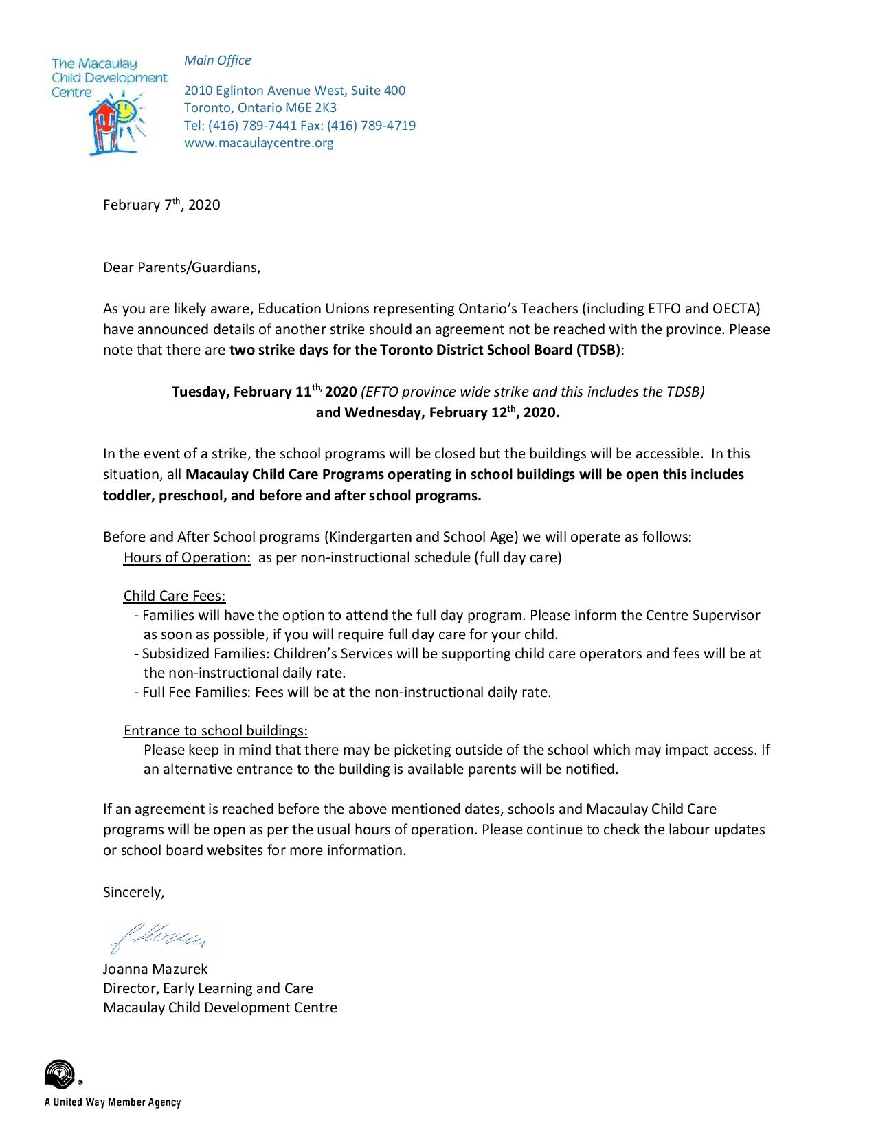 ETFO and OECTA Strike Action (UPDATE* February 10, 2020)