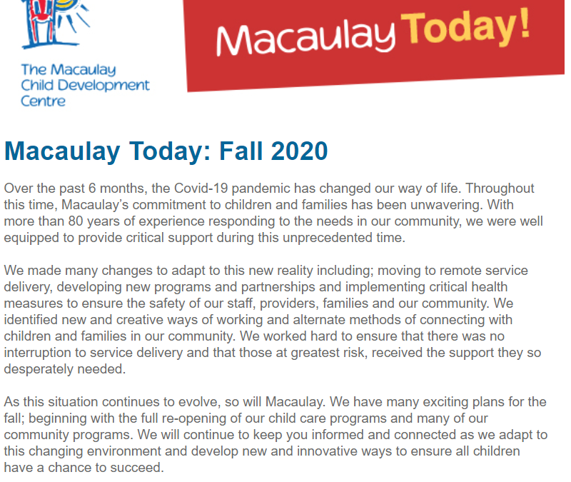 Macaulay Today Fall 2020