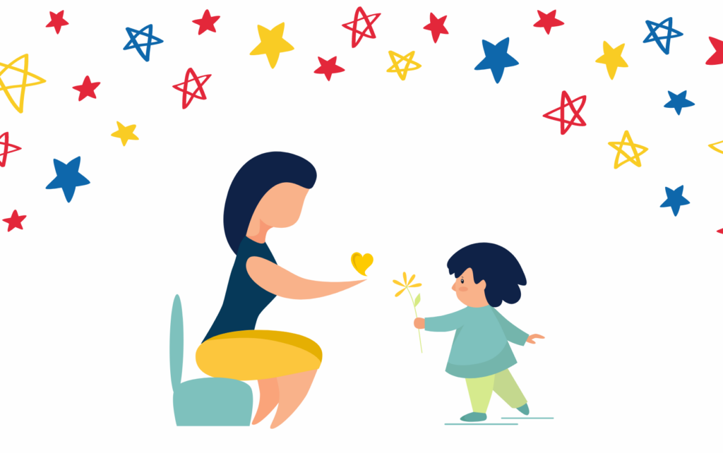 Thank you illustration Female adult giving a heart to a child, Child giving a flower to the adult